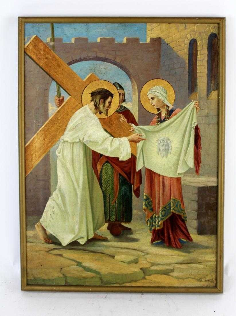 Pair Oil on canvas depicting Jesus and the cross - 6