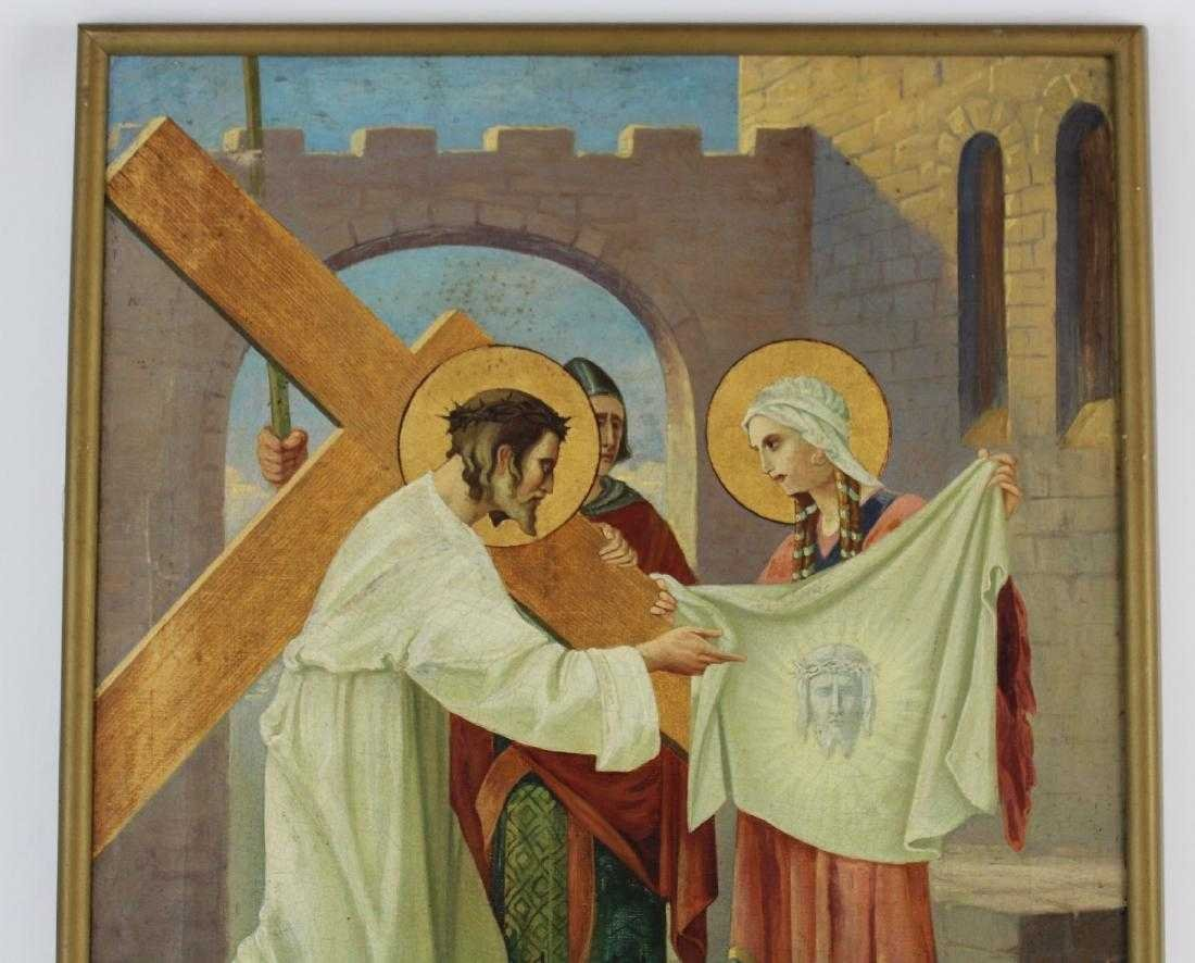 Pair Oil on canvas depicting Jesus and the cross - 7