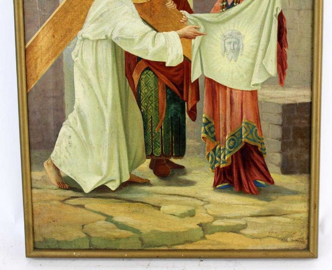 Pair Oil on canvas depicting Jesus and the cross - 8