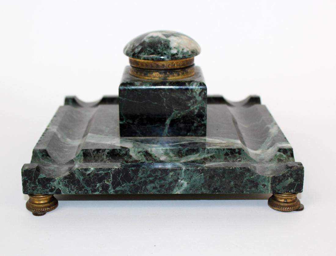 French Napoleon III marble inkwell