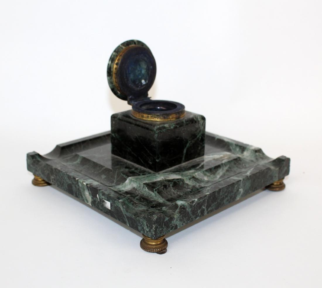 French Napoleon III marble inkwell - 2