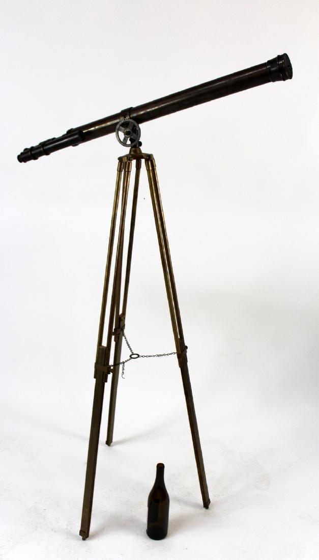 Brass telescope on tripod stand - 3