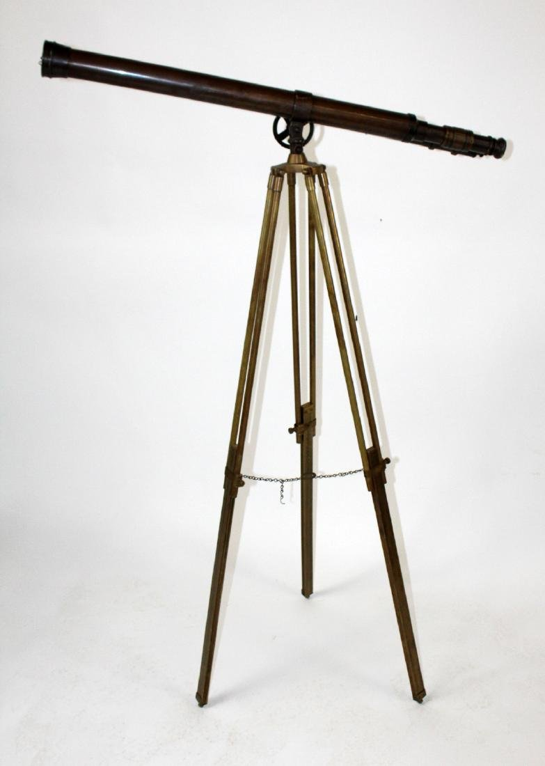 Brass telescope on tripod stand - 6