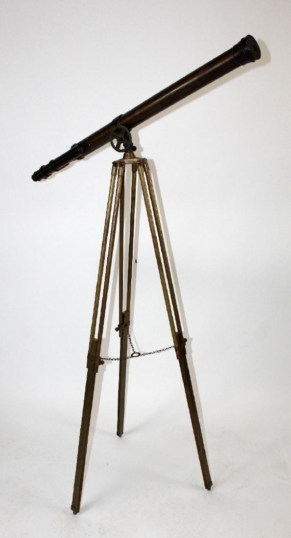Brass telescope on tripod stand - 7