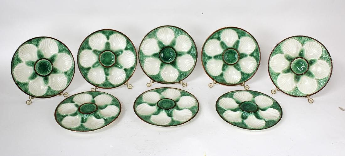 Set of 8 French Majolica glazed oyster plates
