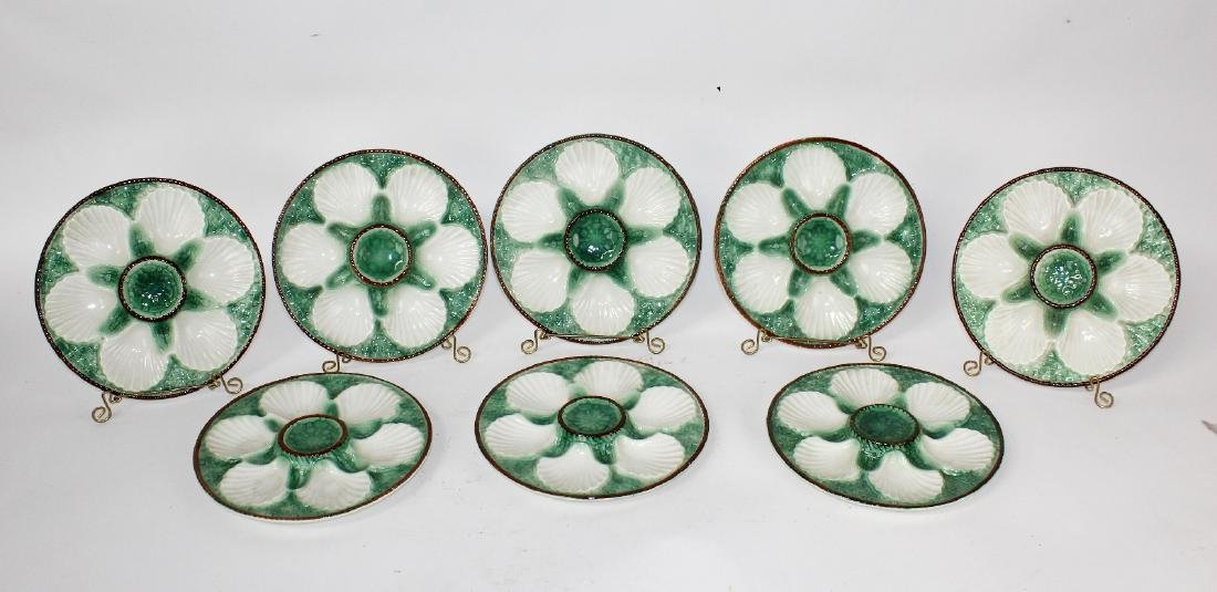 Set of 8 French Majolica glazed oyster plates - 3
