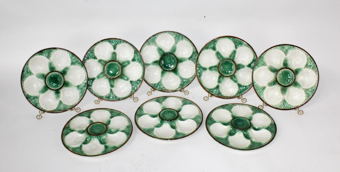 Set of 8 French Majolica glazed oyster plates - 4