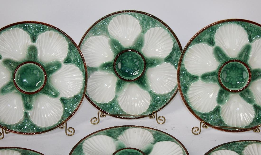 Set of 8 French Majolica glazed oyster plates - 5