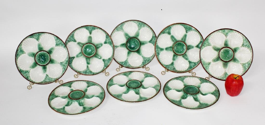 Set of 8 French Majolica glazed oyster plates - 6