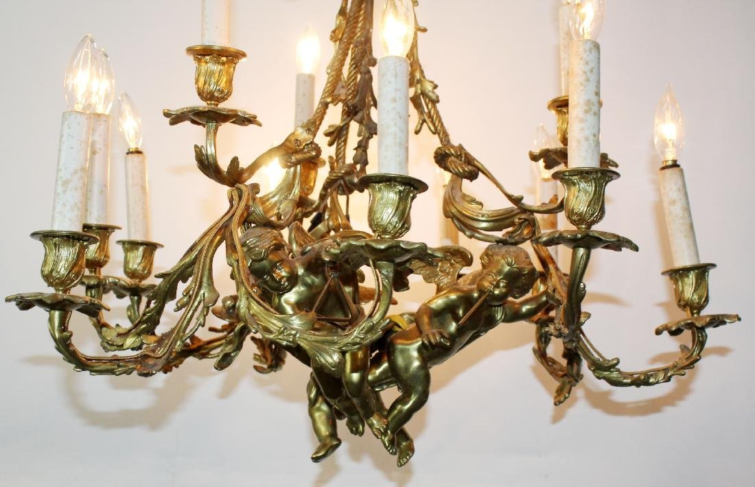 French bronze chandelier with cherubs - 7