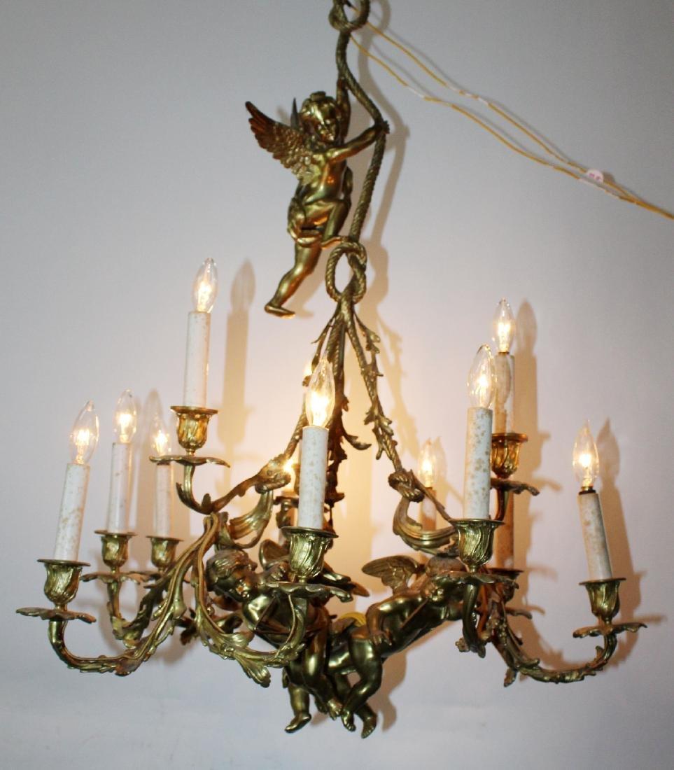 French bronze chandelier with cherubs - 8