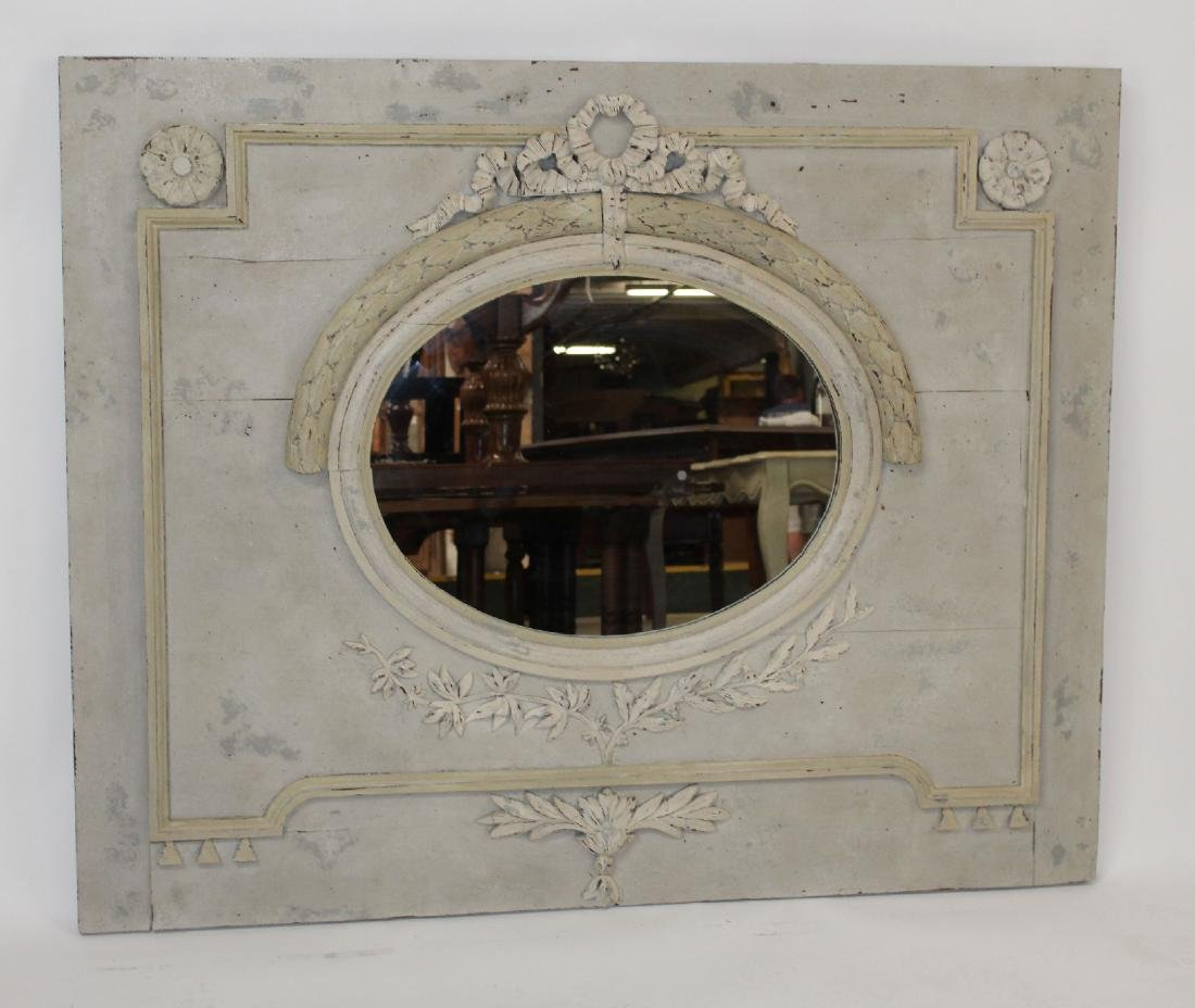French Louis XVI painted trumeau mirror