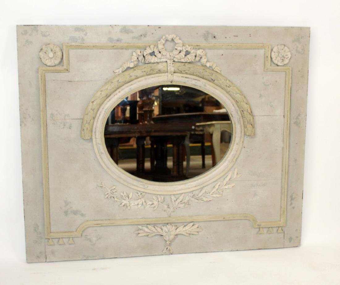 French Louis XVI painted trumeau mirror - 3