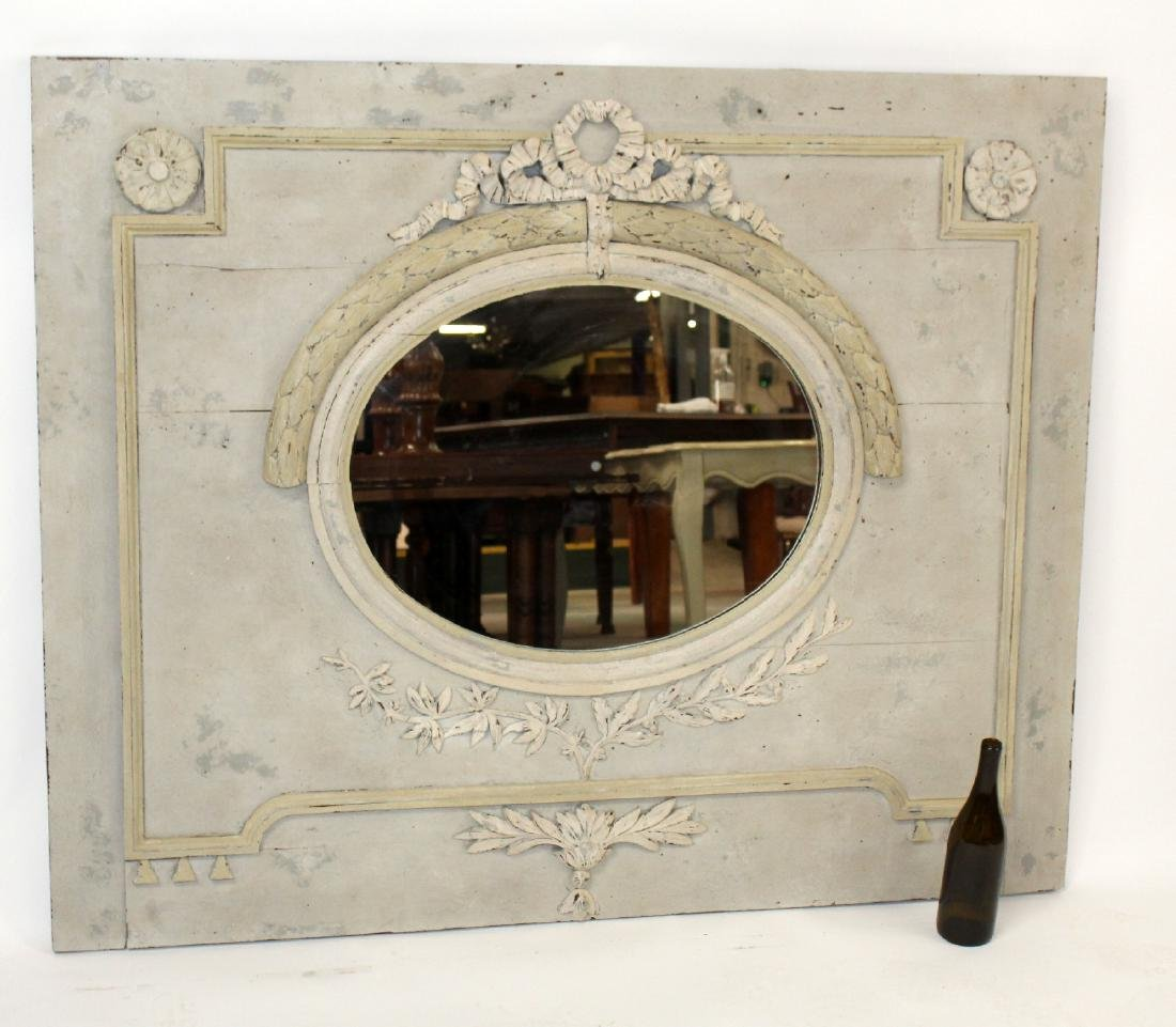 French Louis XVI painted trumeau mirror - 7