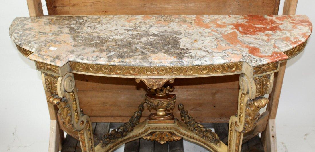 Italian Rococo polychrome & giltwood console table - 3