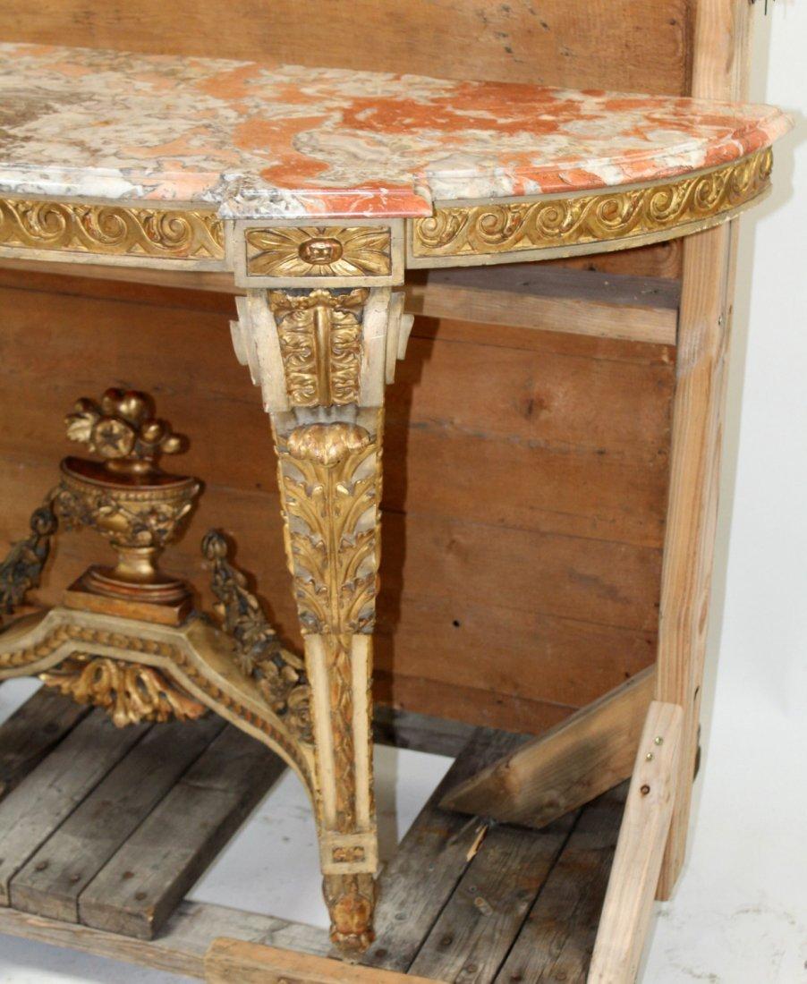 Italian Rococo polychrome & giltwood console table - 4