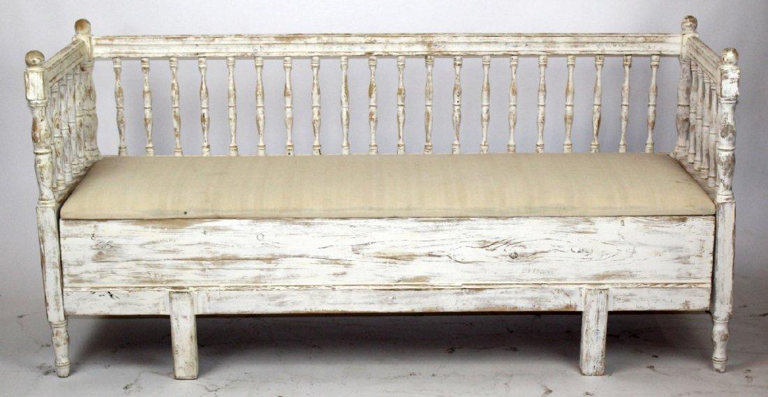 Swedish Gustavian painted pine bench