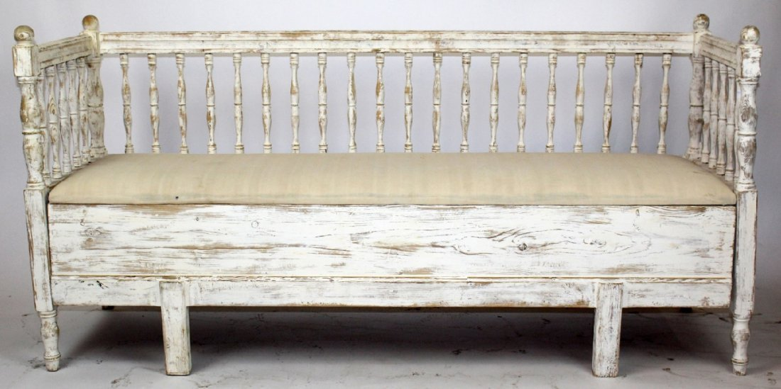 Swedish Gustavian painted pine bench - 2