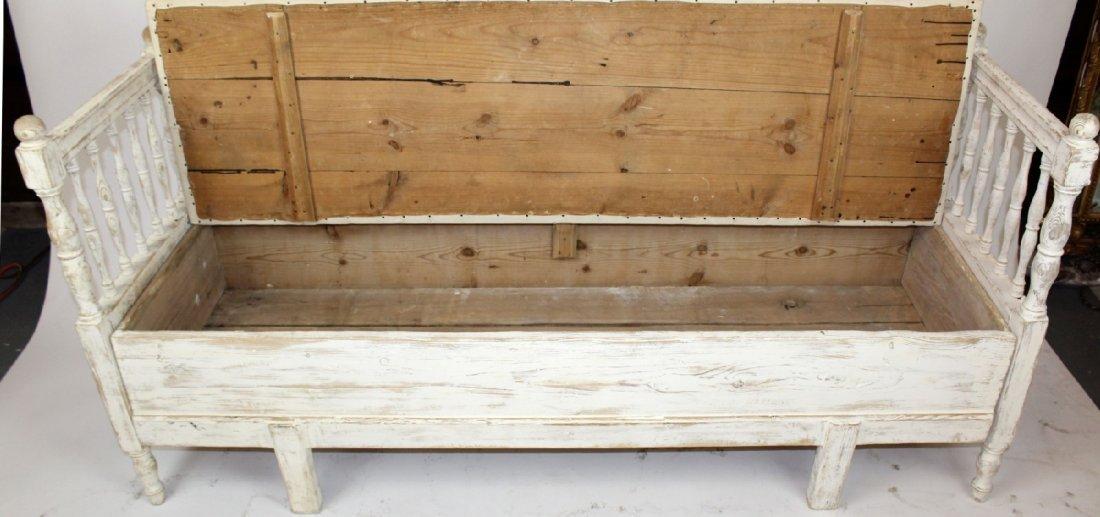 Swedish Gustavian painted pine bench - 4