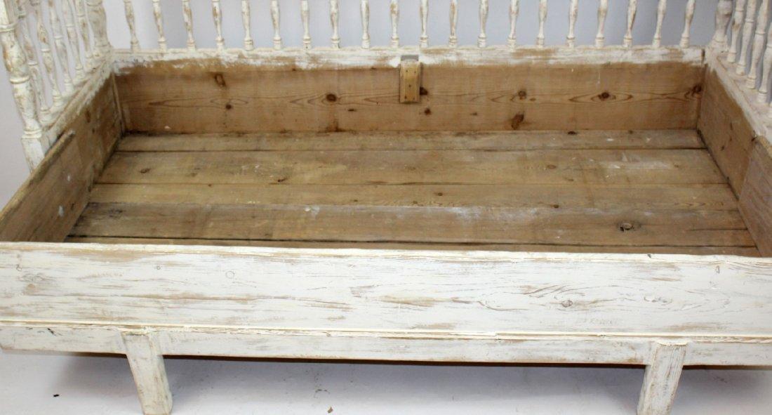 Swedish Gustavian painted pine bench - 5