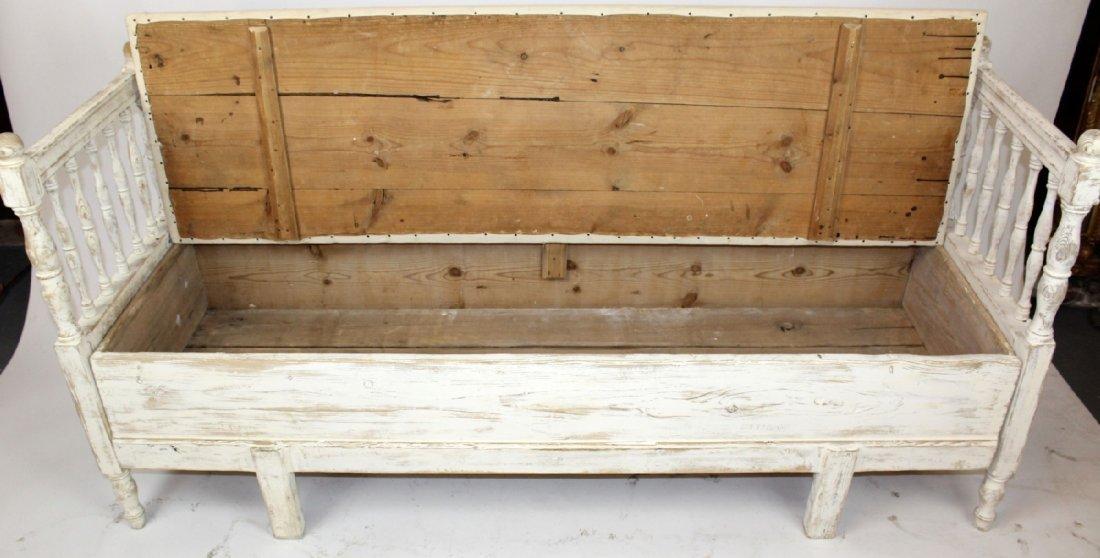 Swedish Gustavian painted pine bench - 6