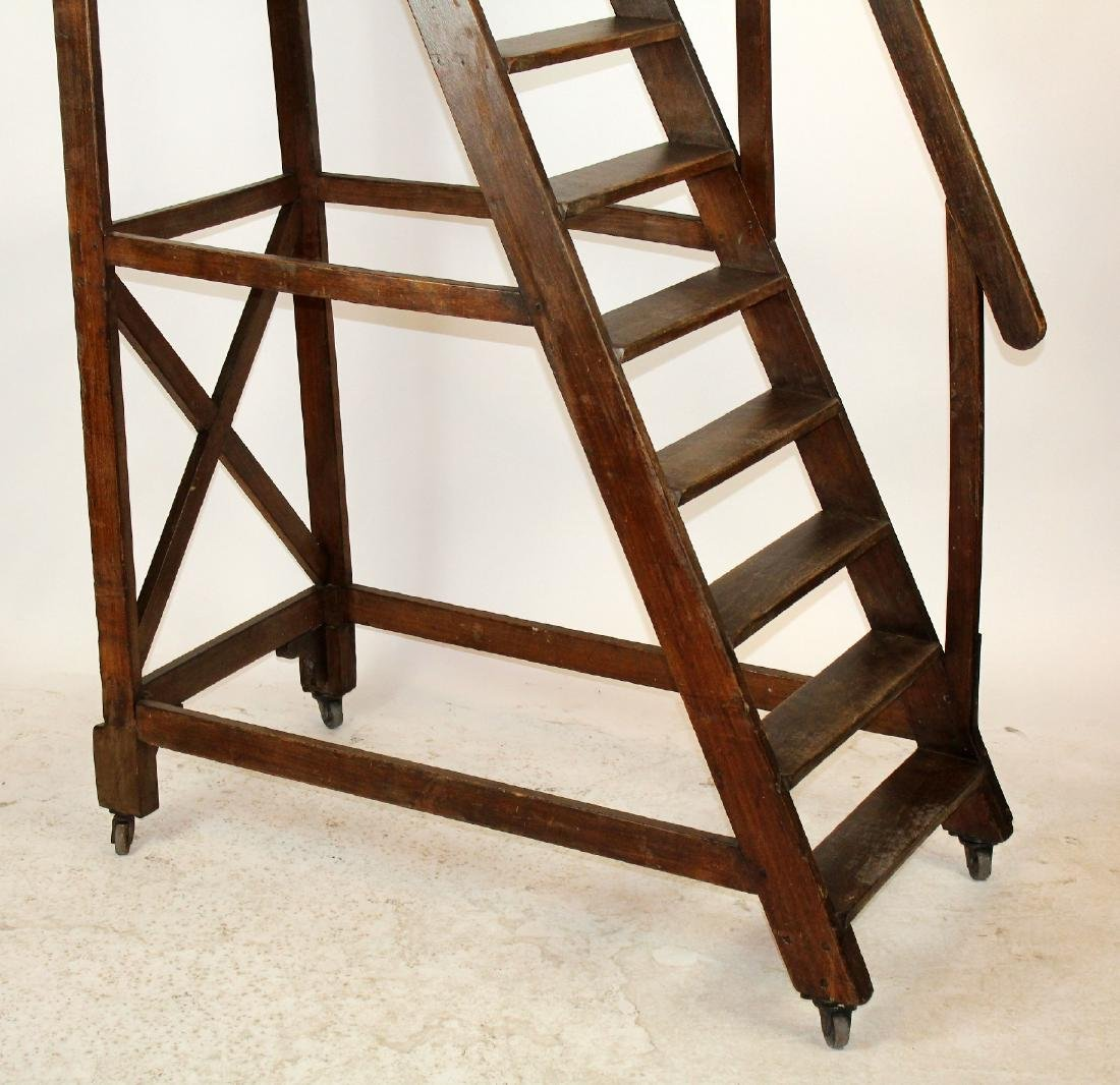 Antique French rolling library ladder - 4