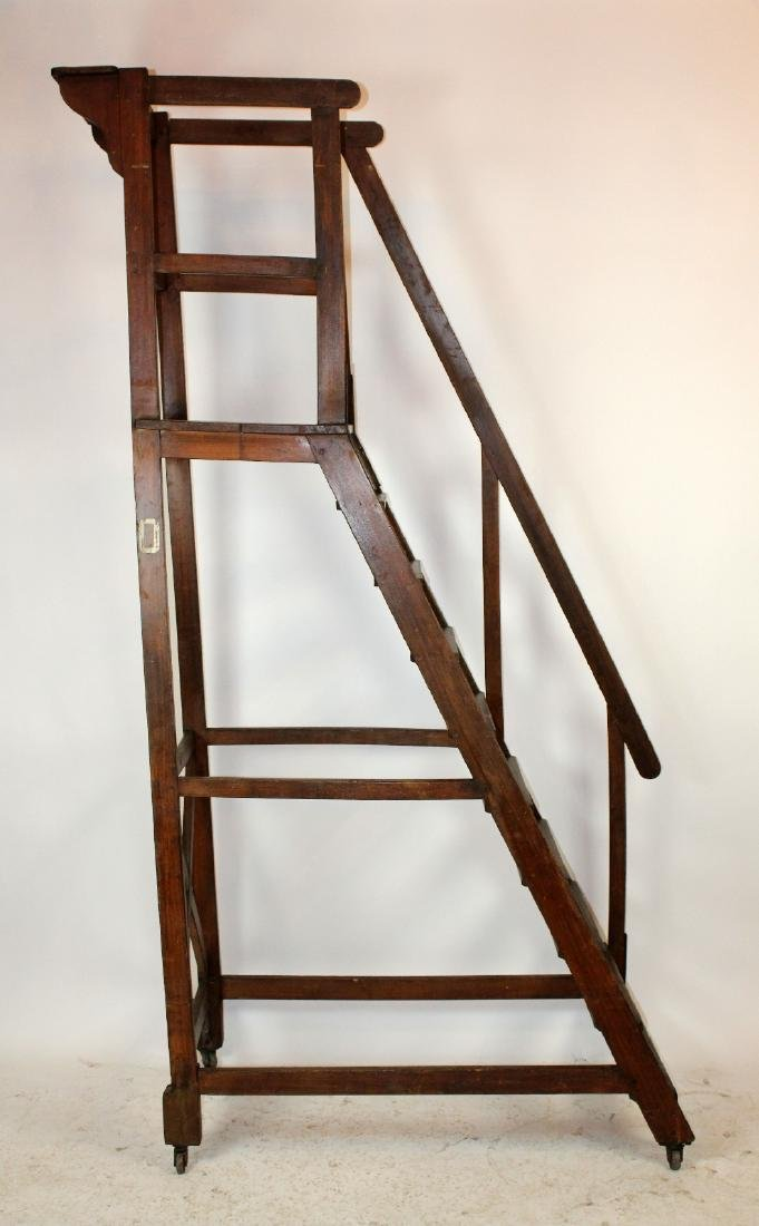 Antique French rolling library ladder - 5