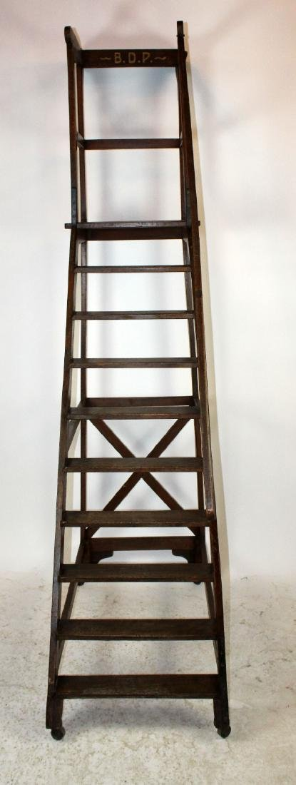 Antique French rolling library ladder - 6
