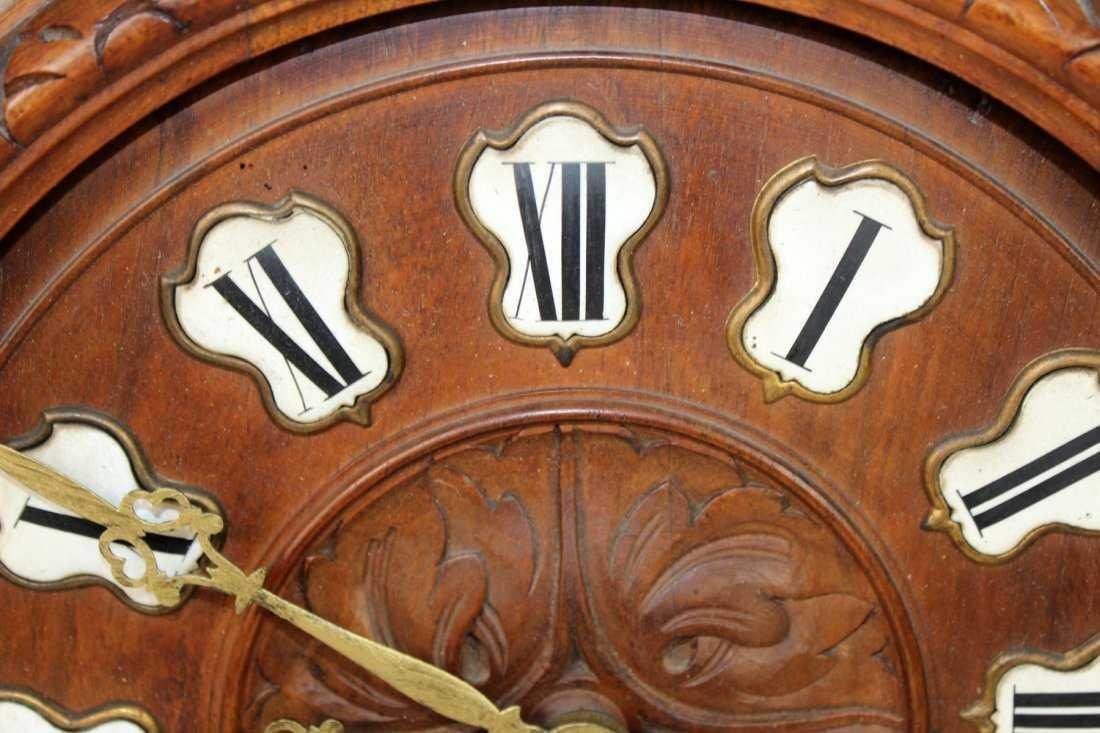 French carved walnut cartel clock - 2