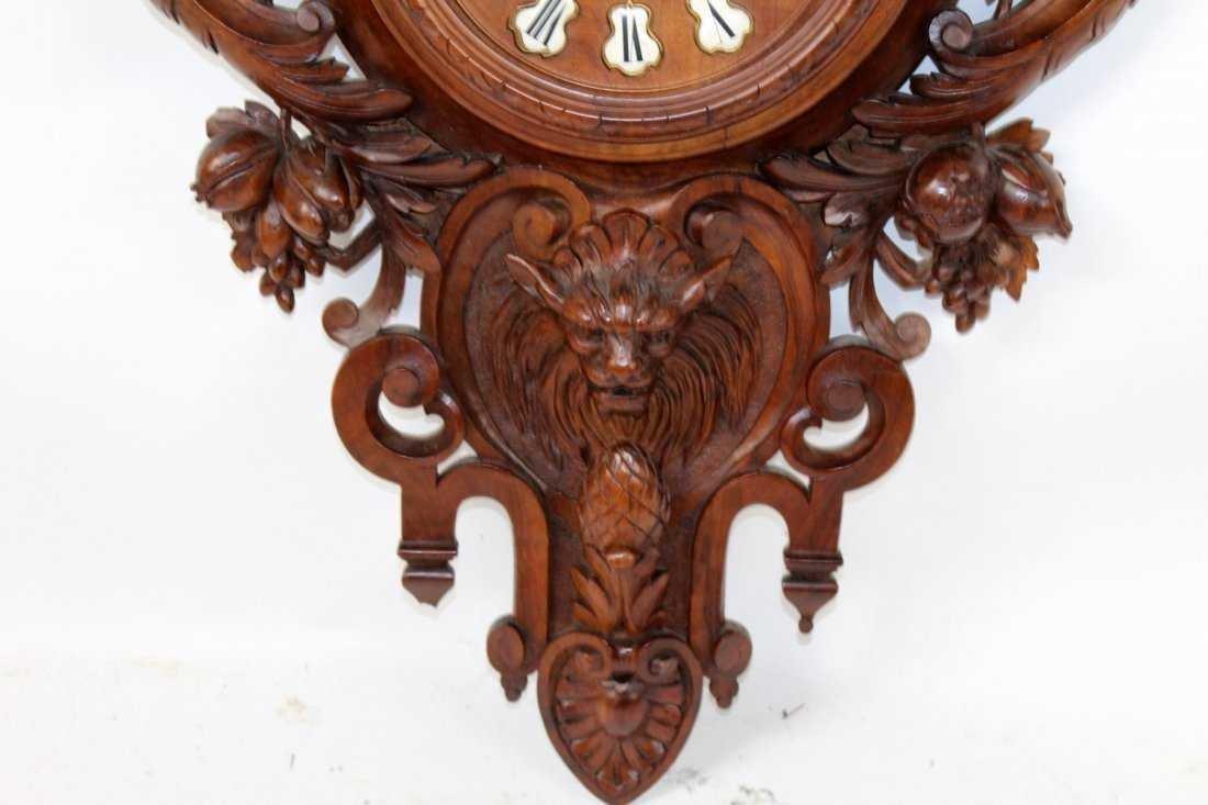 French carved walnut cartel clock - 4