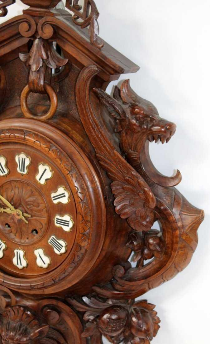 French carved walnut cartel clock - 6
