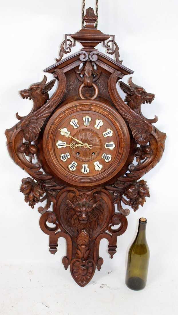 French carved walnut cartel clock - 7