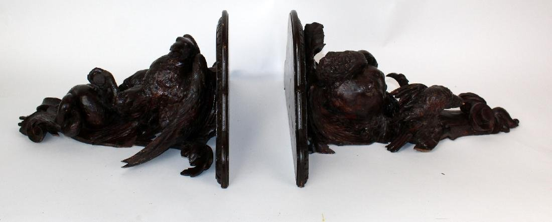 Pair carved Black Forest wall shelves with eagles - 10
