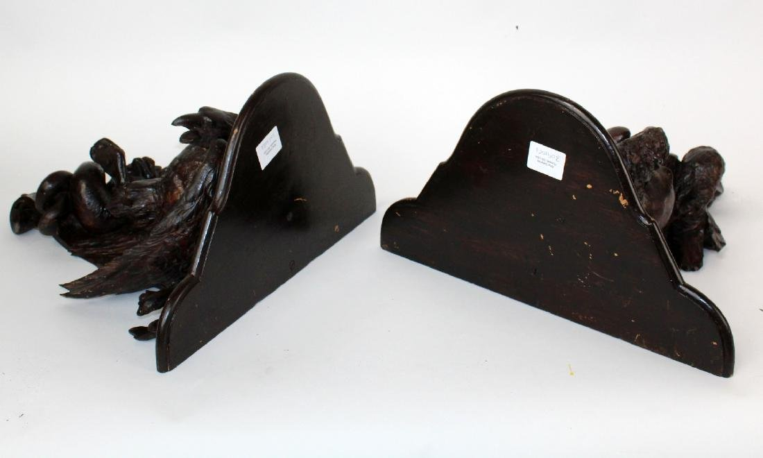 Pair carved Black Forest wall shelves with eagles - 2