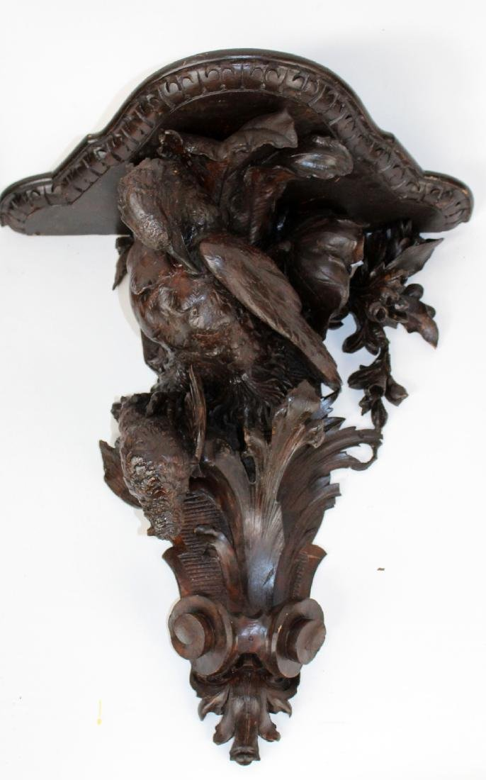 Pair carved Black Forest wall shelves with eagles - 4