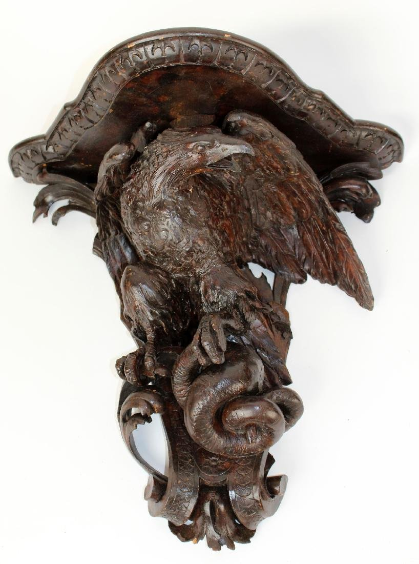 Pair carved Black Forest wall shelves with eagles - 7