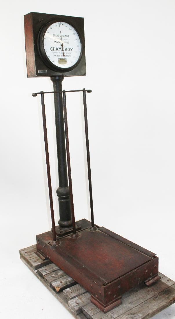 French Industrial cast iron stand up scale