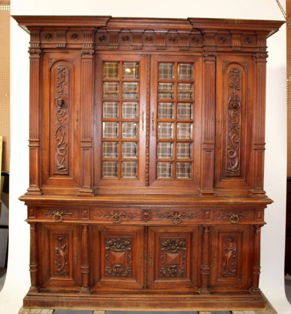 French carved walnut bookcase