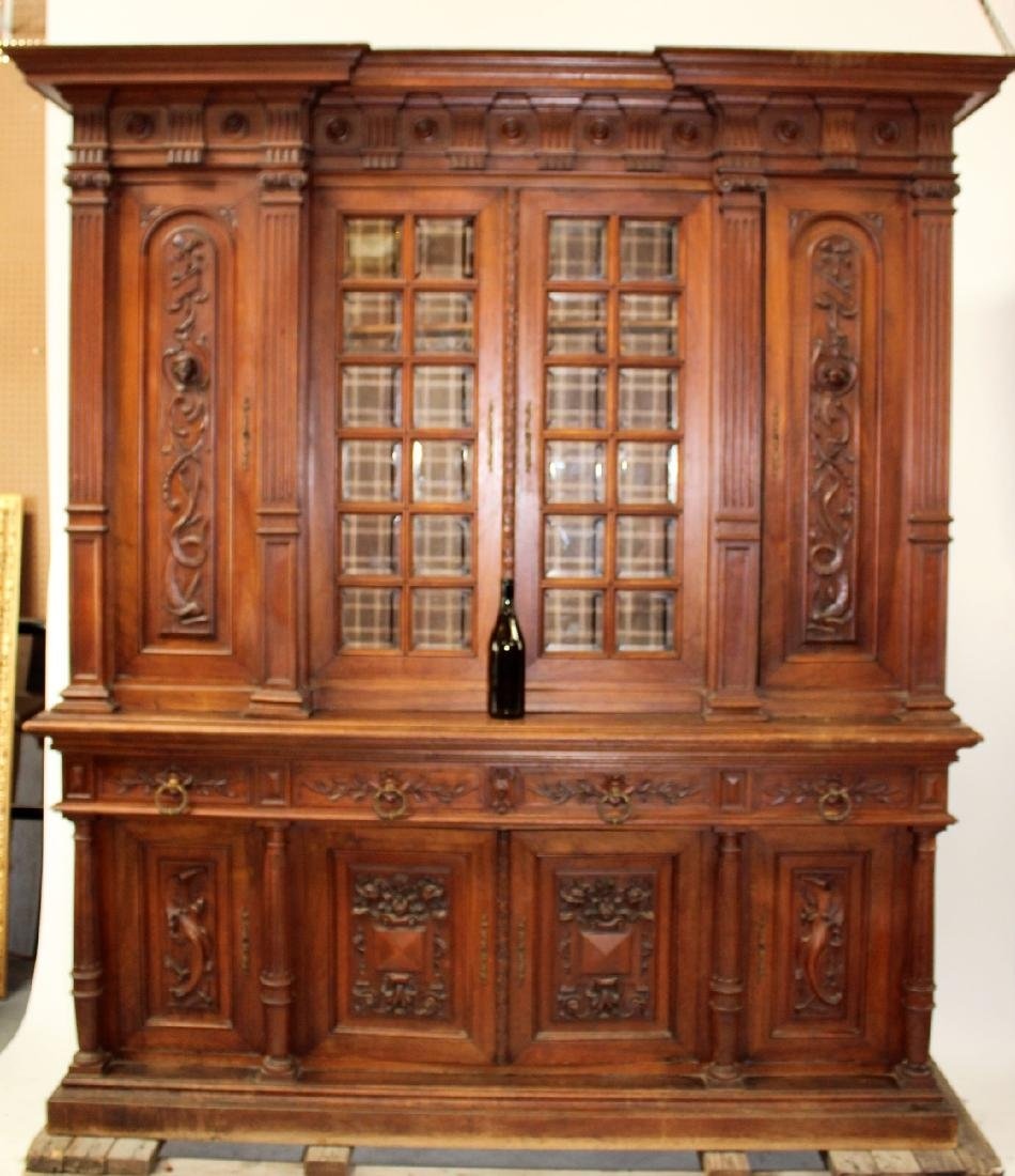 French carved walnut bookcase - 2