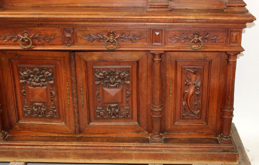 French carved walnut bookcase - 4