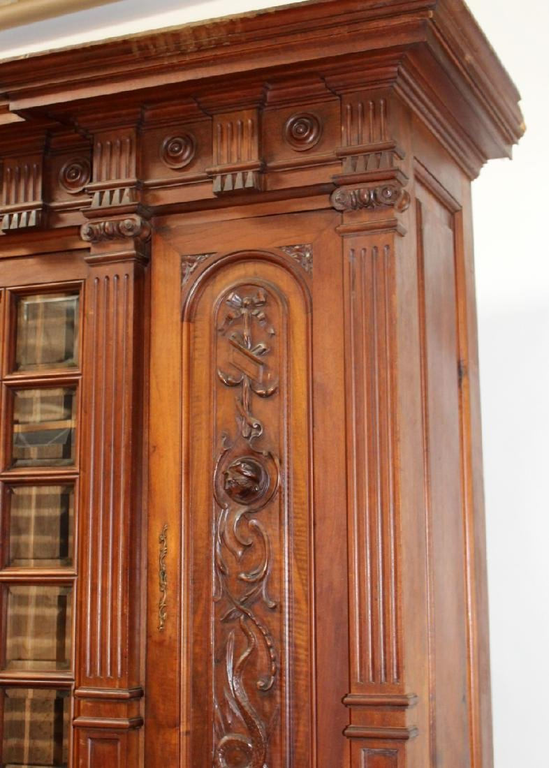 French carved walnut bookcase - 5