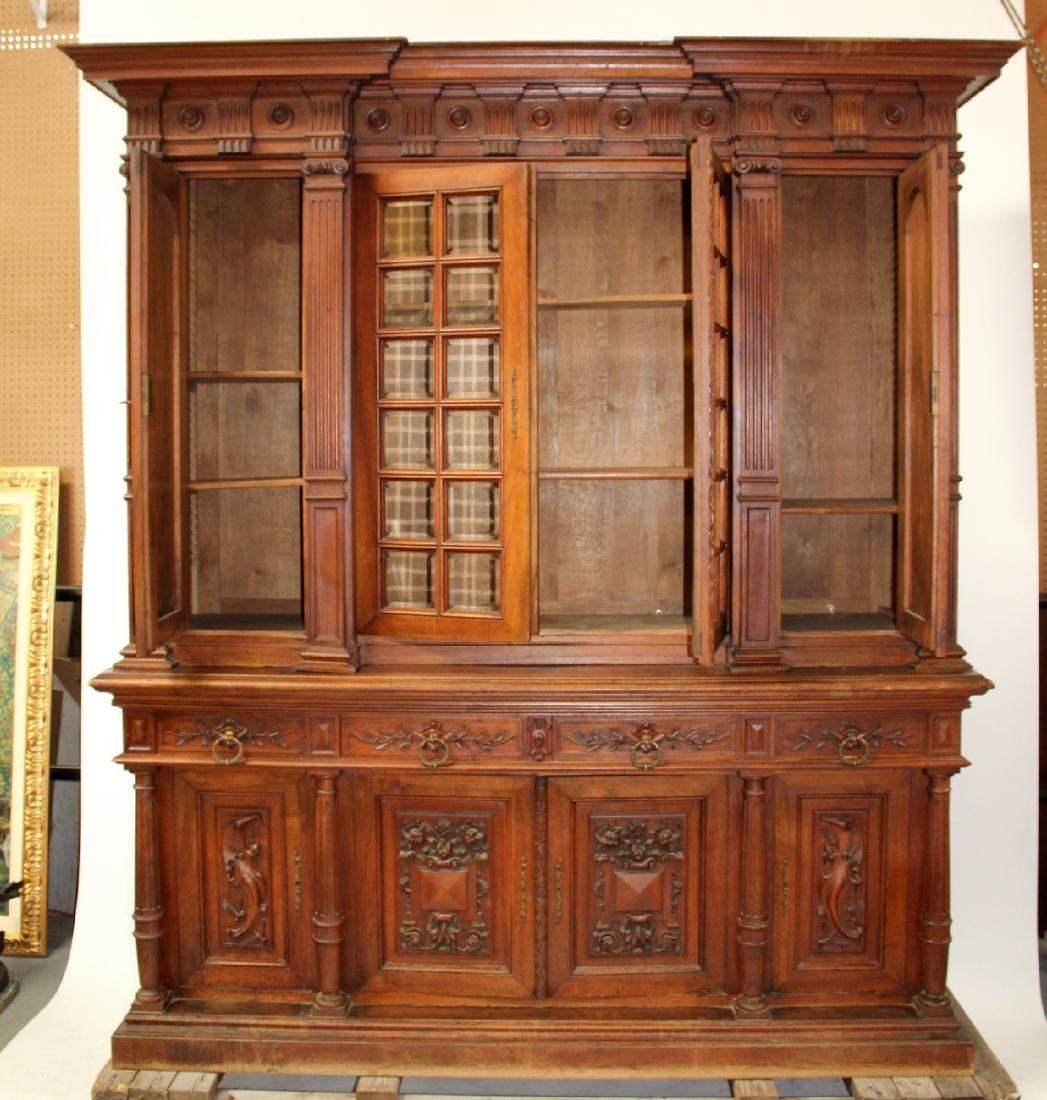 French carved walnut bookcase - 6