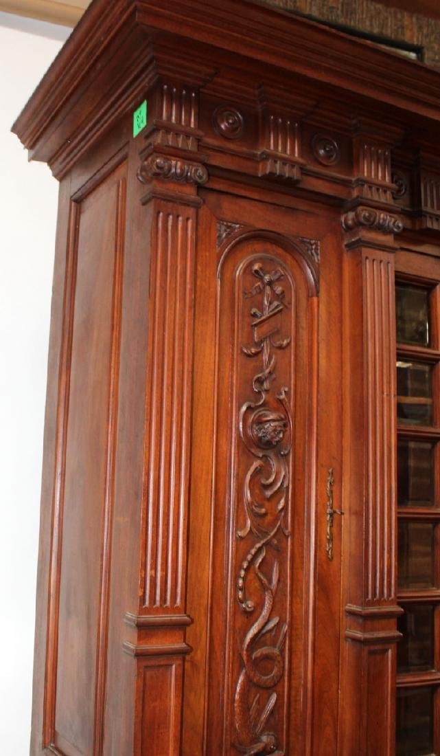 French carved walnut bookcase - 7