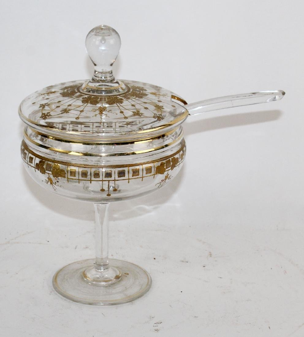 French footed glass compote with spoon