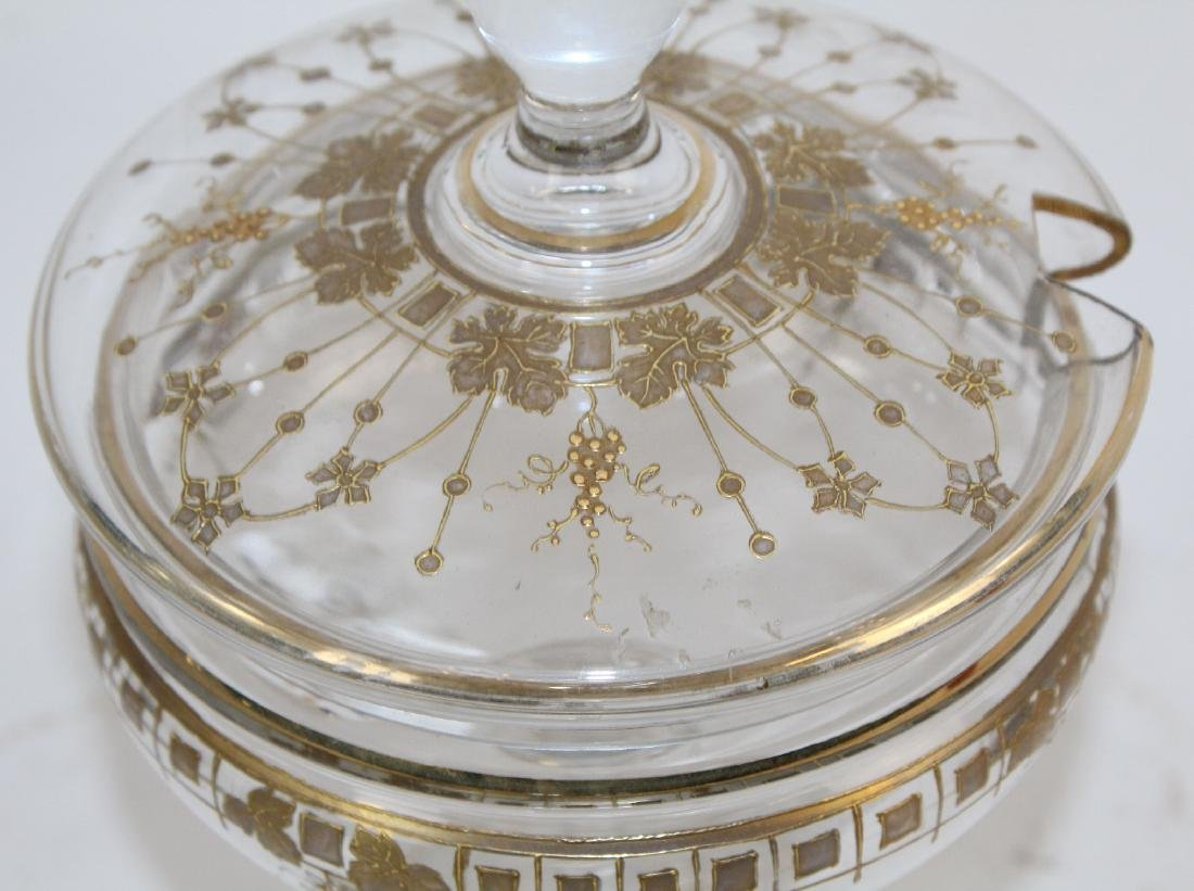 French footed glass compote with spoon - 2