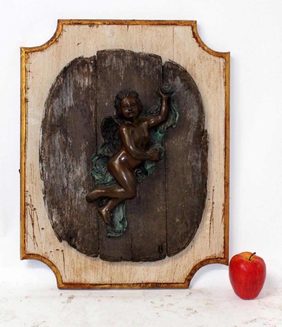 Bronze cherub plaque mounted on board - 3