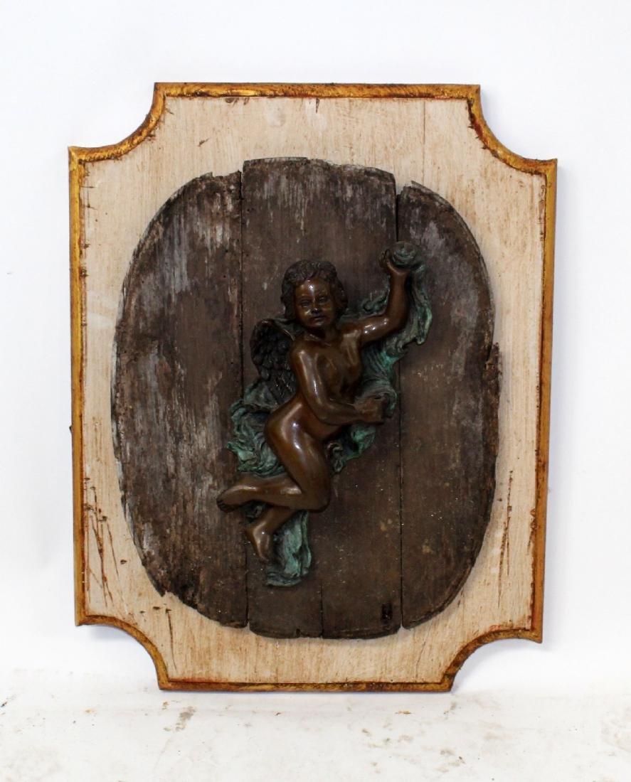Bronze cherub plaque mounted on board - 4