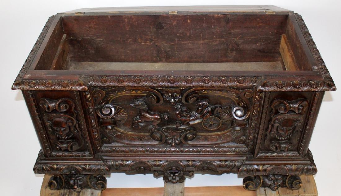 Italian Heavily carved walnut trunk - 2