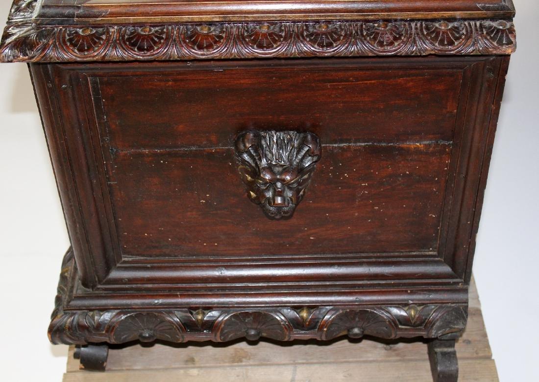Italian Heavily carved walnut trunk - 4