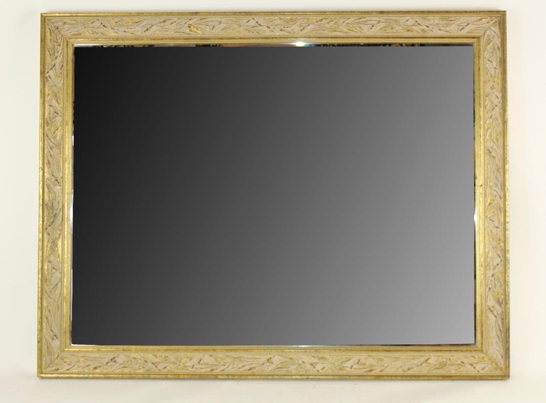 Whitewashed framed beveled mirror